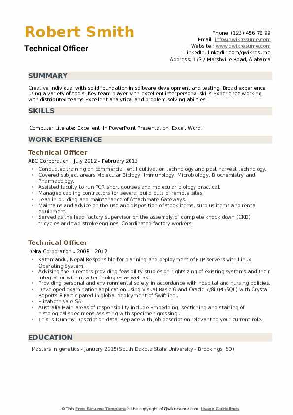 Technical Officer Resume example