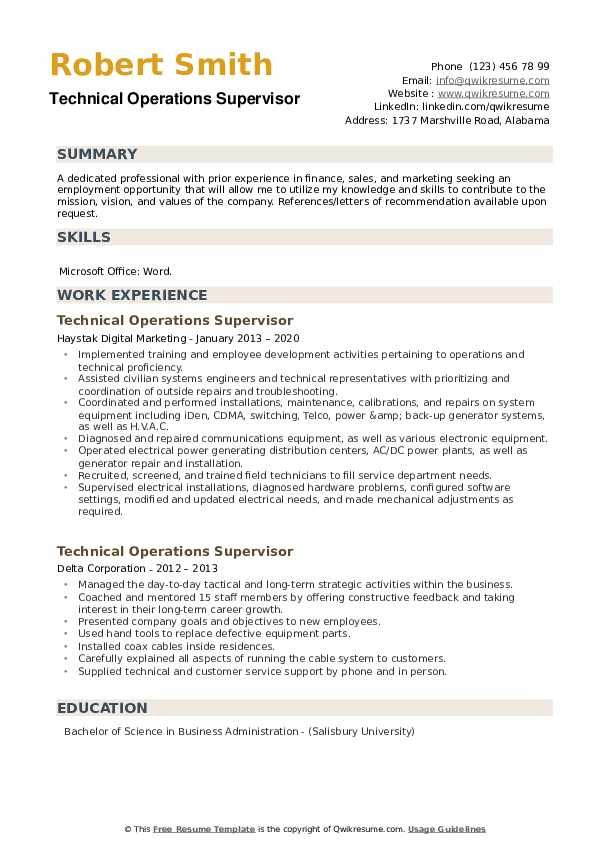 Technical Operations Supervisor Resume example