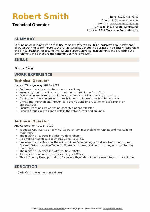 Technical Operator Resume example