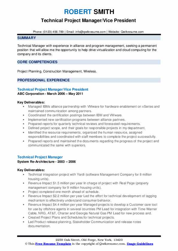 Technical Project Manager/Vice President  Resume Format