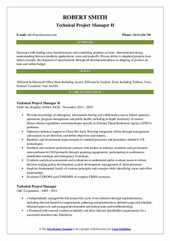 Technical Project Manager II Resume Model