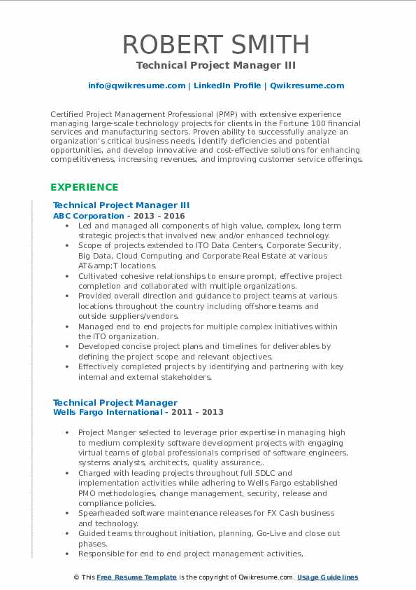 Technical Project Manager III Resume Format