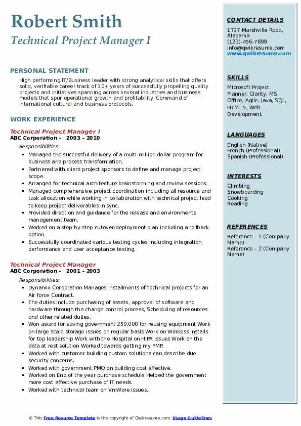 Technical Project Manager I Resume Template