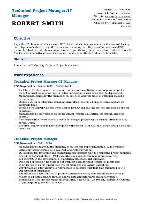 Technical Project Manager/IT Manager Resume Format