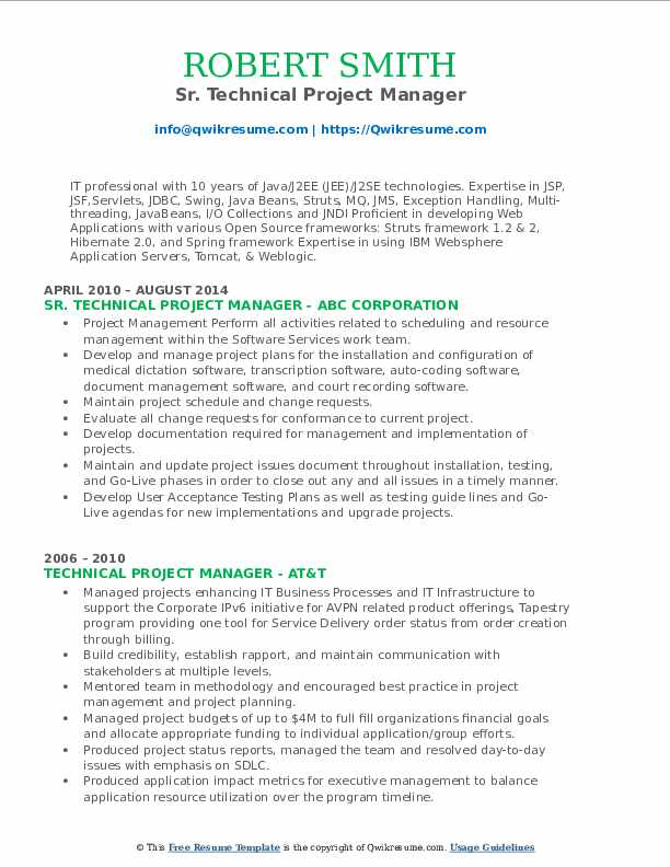 Sr. Technical Project Manager Resume Sample