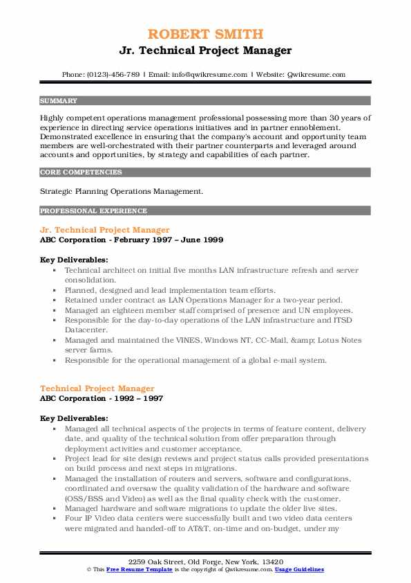 Jr. Technical Project Manager Resume Template