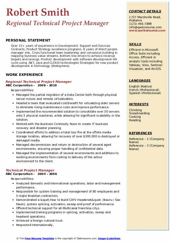 Regional Technical Project Manager Resume Format