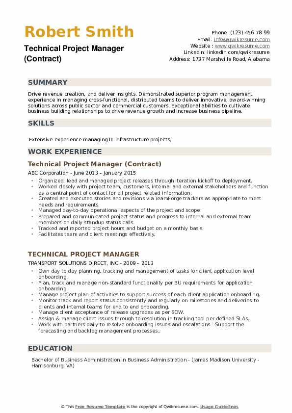 Technical Project Manager (Contract) Resume Example