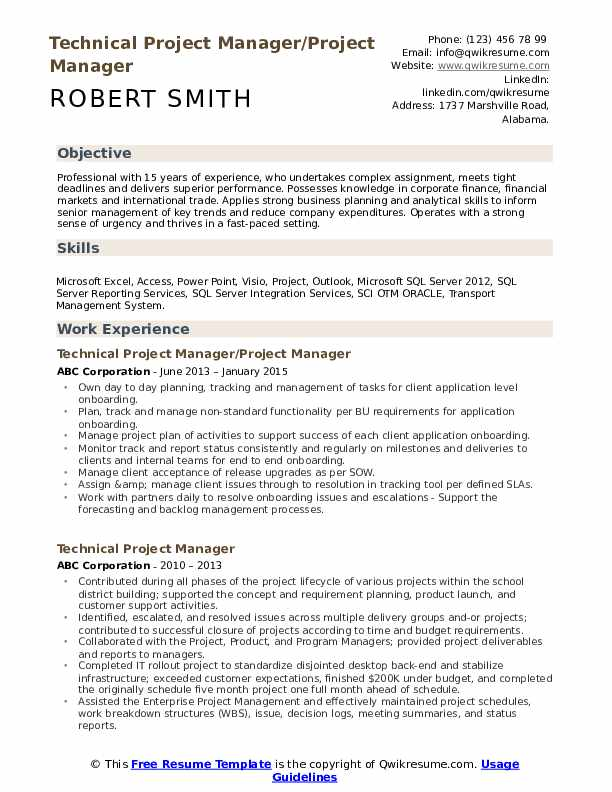 Technical Project Manager/Project Manager Resume Template