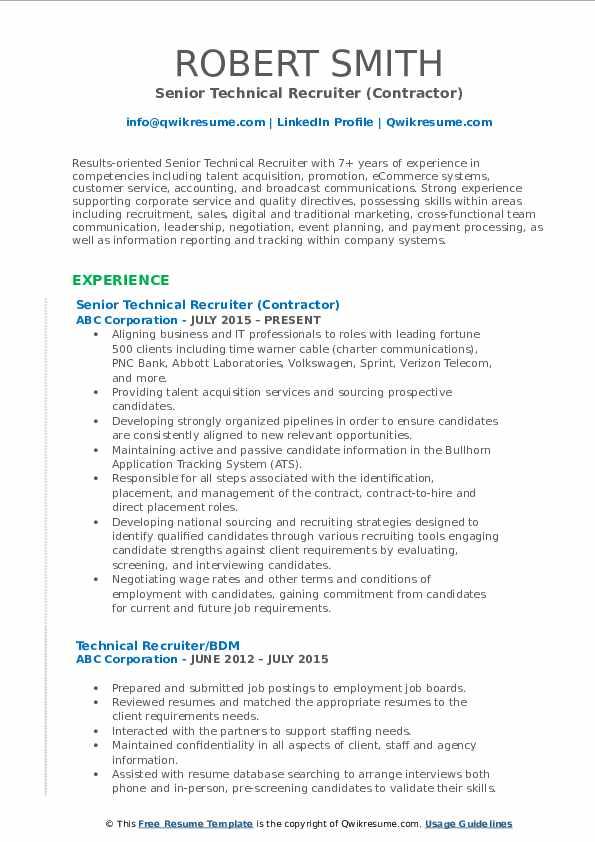Senior Technical Recruiter (Contractor) Resume Sample