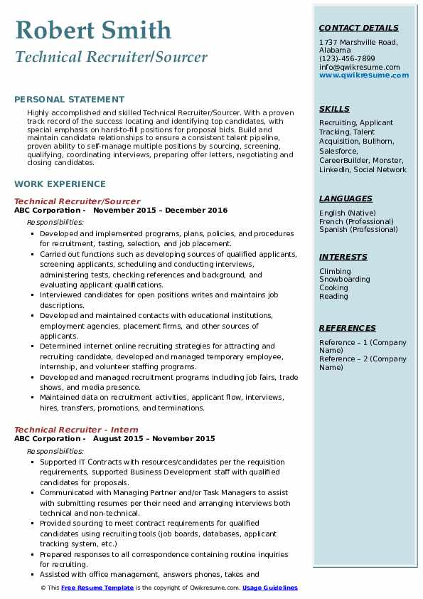 Technical Recruiter/Sourcer Resume Template