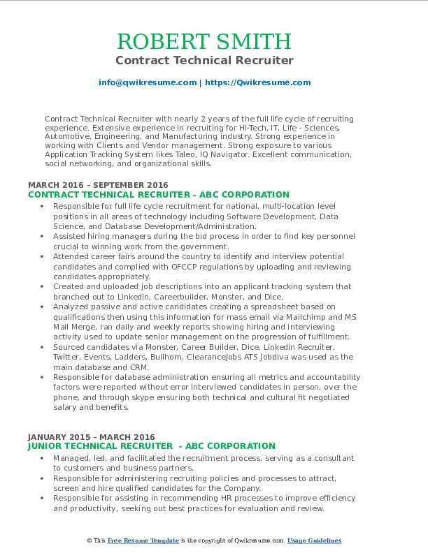 technical recruiter resume samples