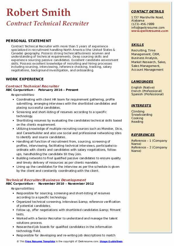 Contract Technical Recruiter Resume Template