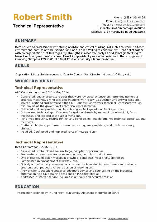 Technical Representative Resume example