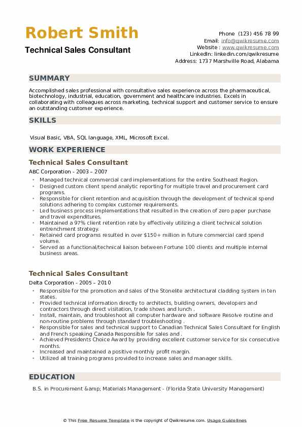 Technical Sales Consultant Resume example