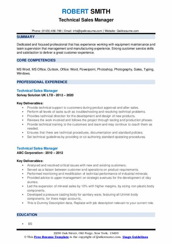 Technical Sales Manager Resume example
