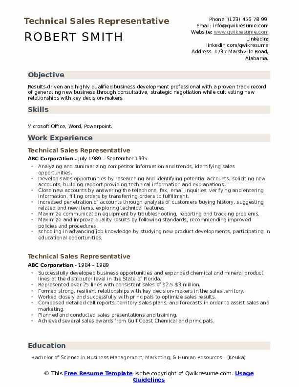 Technical Sales Representative Resume Sample
