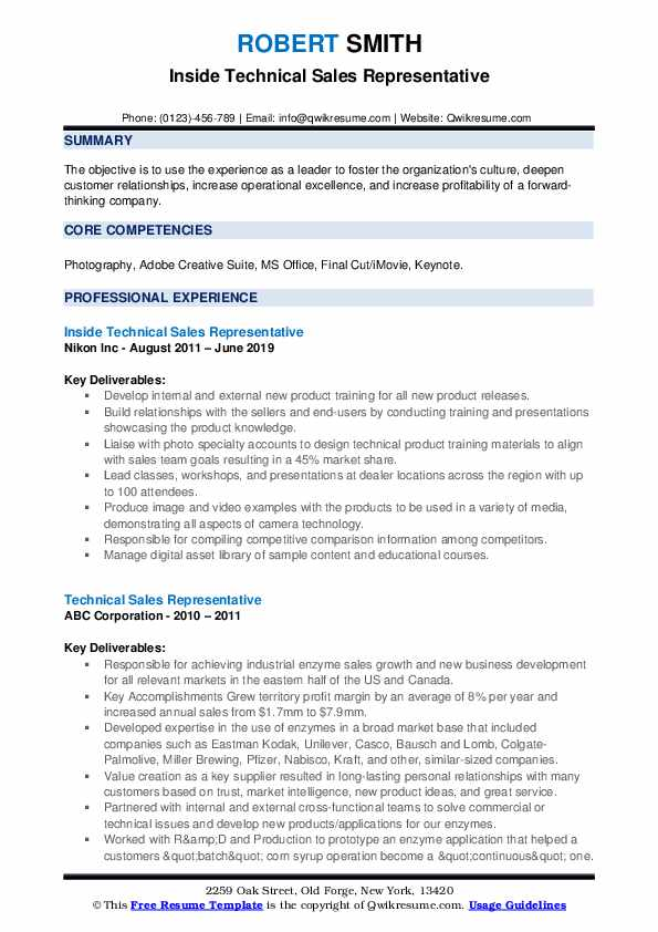 Inside Technical Sales Representative Resume Template