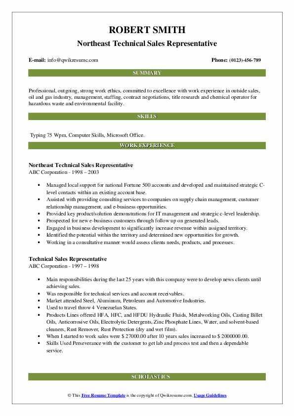 Northeast Technical Sales Representative Resume Model