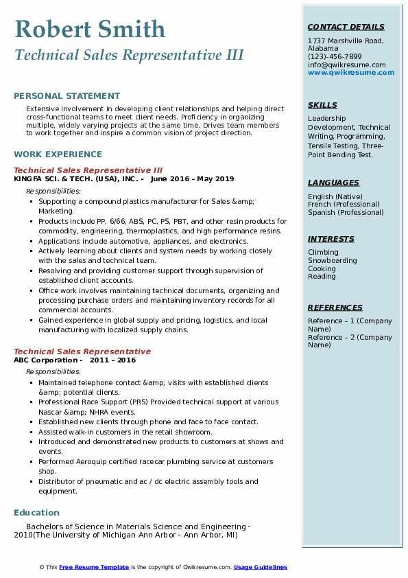 Technical Sales Representative III Resume Template