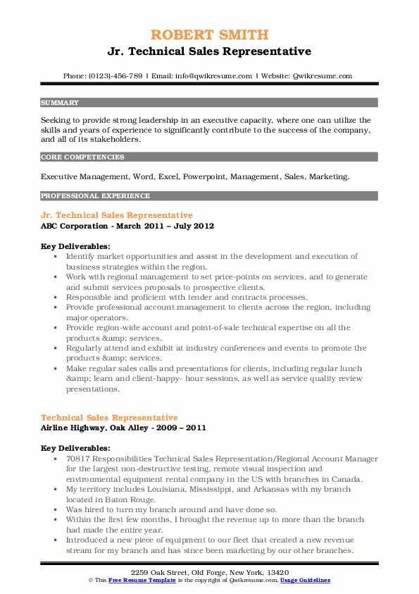 Jr. Technical Sales Representative Resume Example
