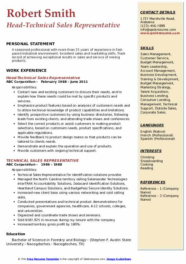 Head-Technical Sales Representative Resume Example