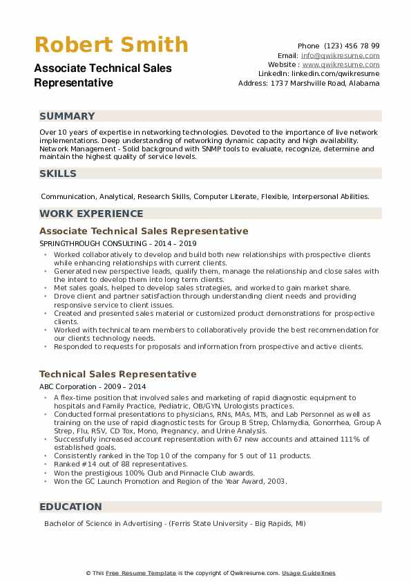 Associate Technical Sales Representative Resume Example