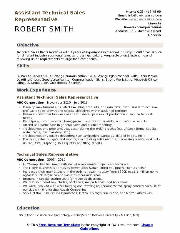 Assistant Technical Sales Representative Resume Format
