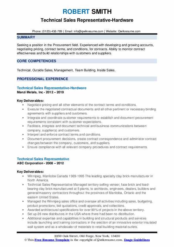 Technical Sales Representative-Hardware Resume Example