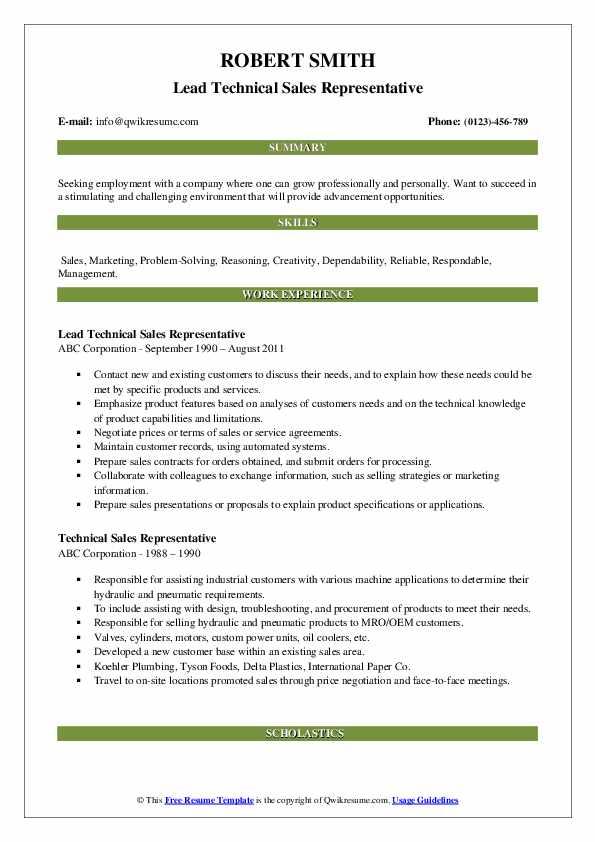 Lead Technical Sales Representative Resume Sample