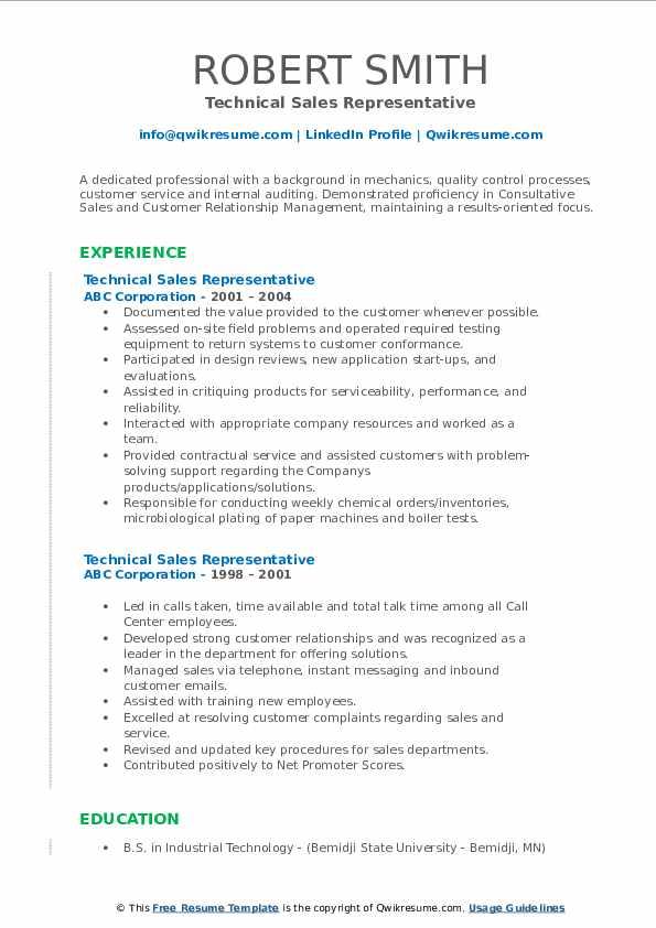 Technical Sales Representative Resume example