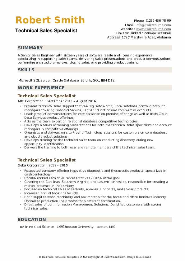 Technical Sales Specialist Resume example