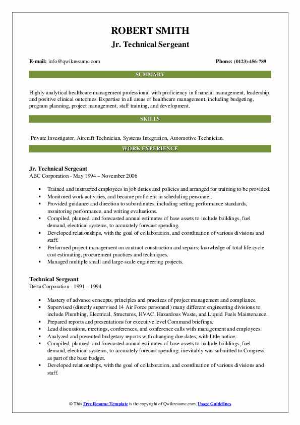 Technical Sergeant Resume Samples   QwikResume