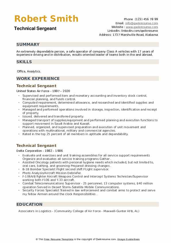 Technical Sergeant Resume example