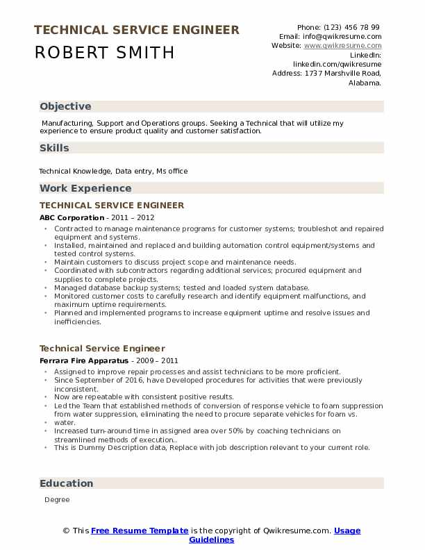 Technical Service Engineer Resume example