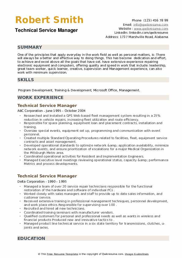 Technical Service Manager Resume example