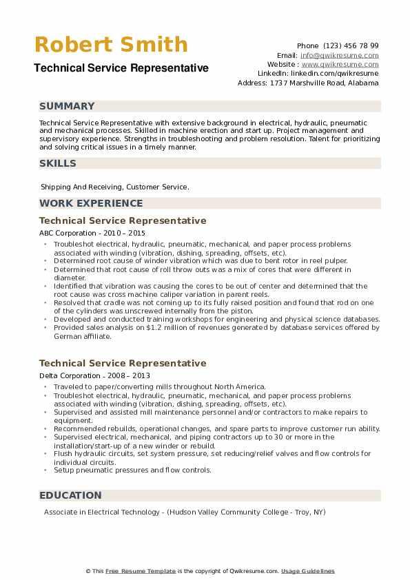 Technical Service Representative Resume example