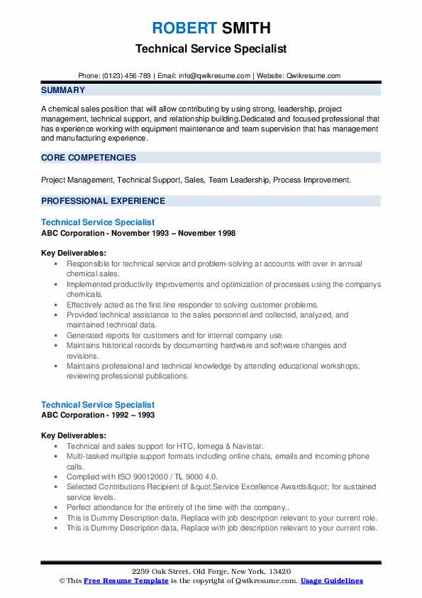 Technical Service Specialist Resume example