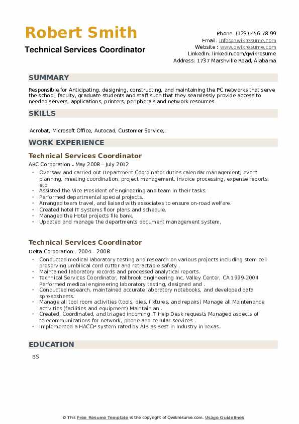 Technical Services Coordinator Resume example