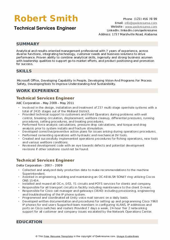 Technical Services Engineer Resume example