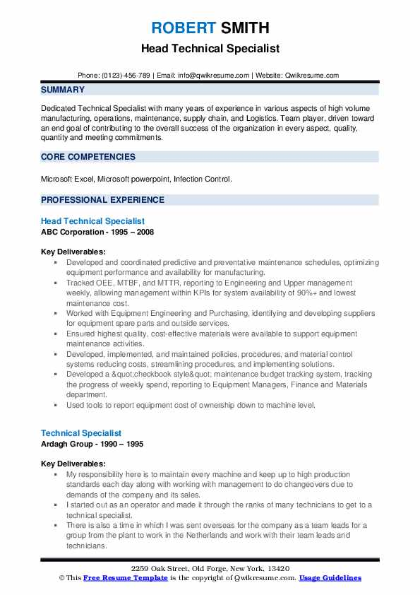 Head Technical Specialist Resume Format