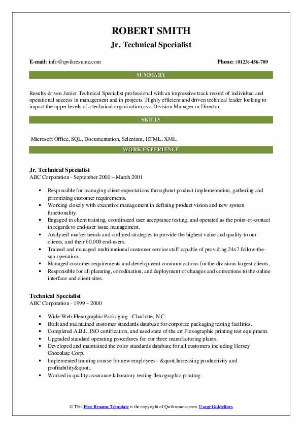 Jr. Technical Specialist Resume Template