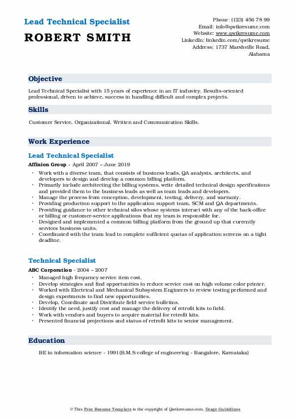 Lead Technical Specialist Resume Format