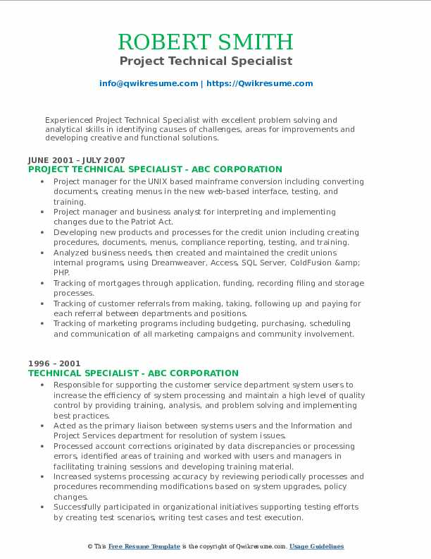 Project Technical Specialist Resume Example