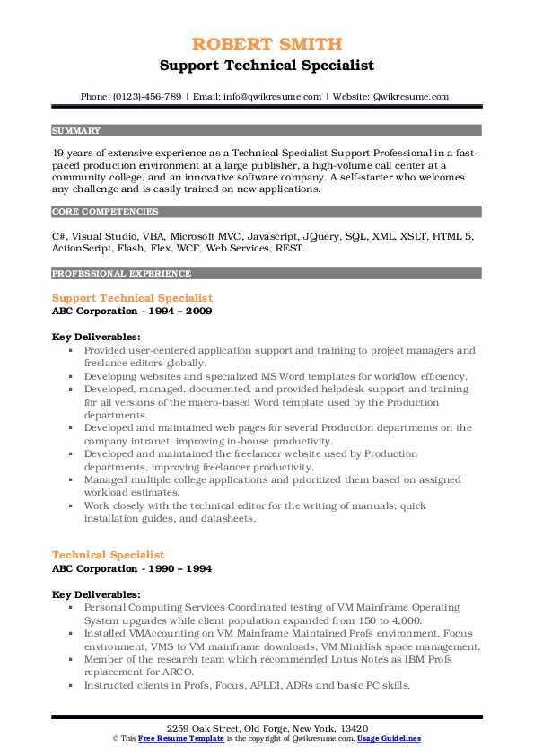 Support Technical Specialist Resume Template