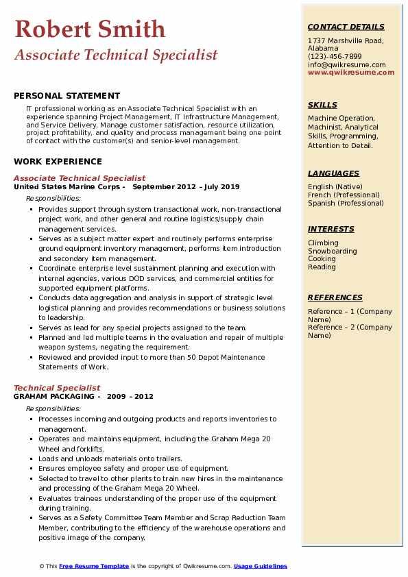 Associate Technical Specialist Resume Example