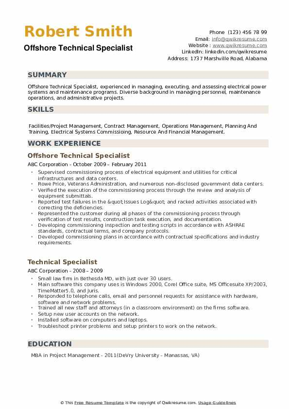 Offshore Technical Specialist Resume Example