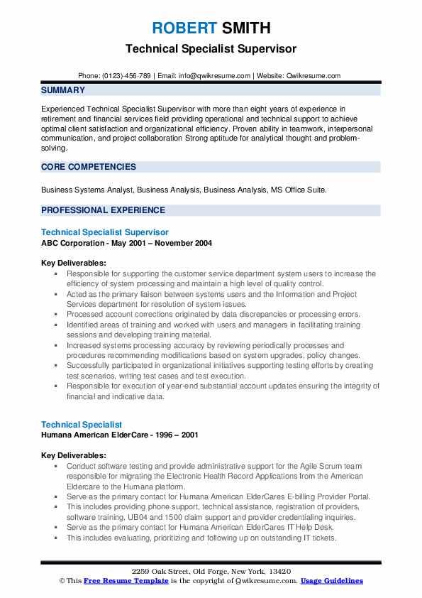 Technical Specialist Supervisor Resume Model