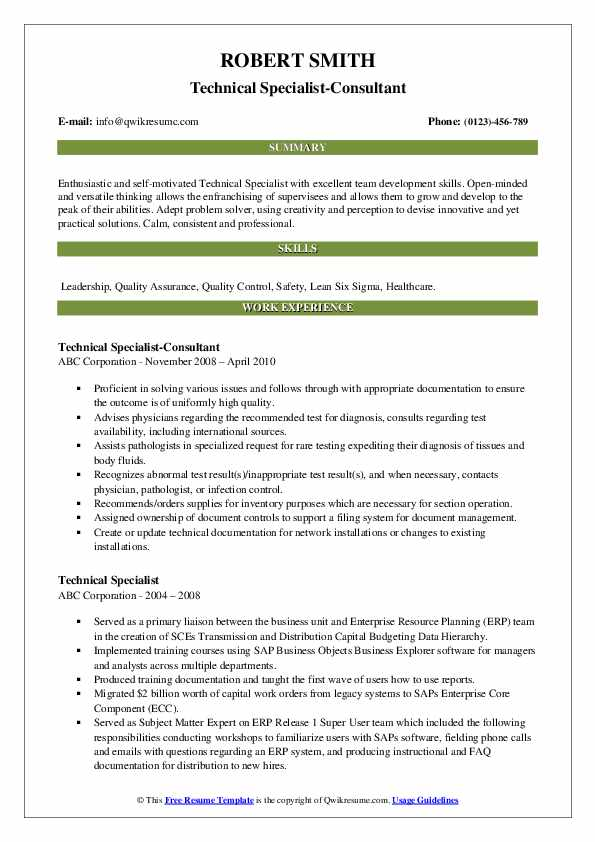 Technical Specialist-Consultant Resume Template