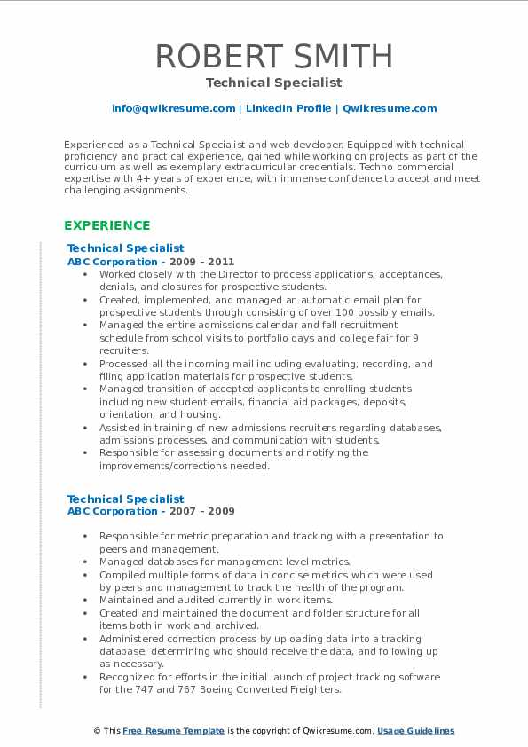 Technical Specialist Resume example